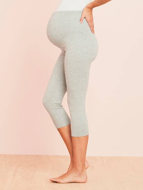 Short Maternity Leggings Black+GREY LIGHT MIXED COLOR