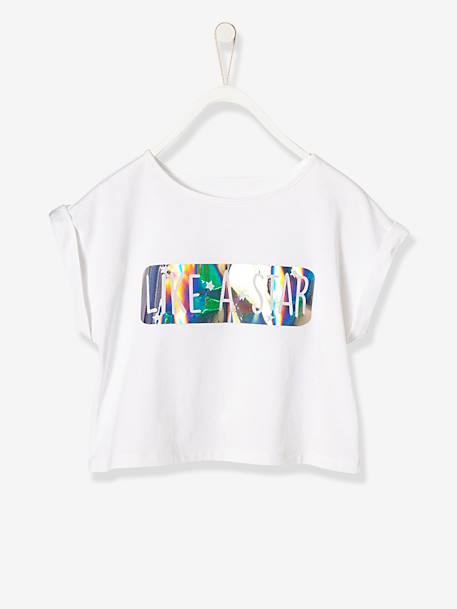 Girls' Printed T-shirt with Glossy Effect WHITE LIGHT SOLID WITH DESIGN