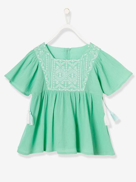 Girls' Crepon Blouse GREEN LIGHT SOLID WITH DESIGN+PINK BRIGHT SOLID WITH DESIG