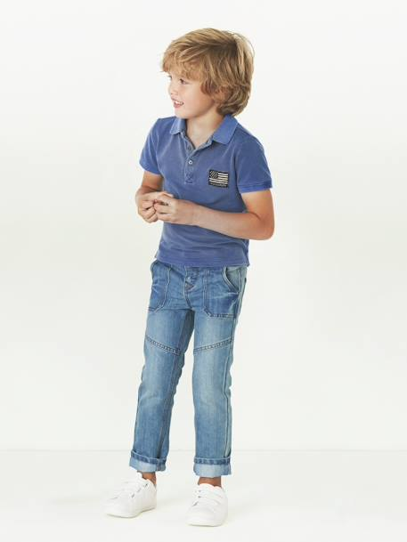 NARROW Fit - Boys' Straight Cut Trousers BLACK MEDIUM WASCHED+BLUE DARK WASCHED