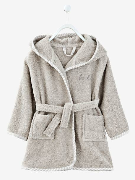 Baby Hooded Bathrobe Grey blue+GREY LIGHT SOLID+Pink+White