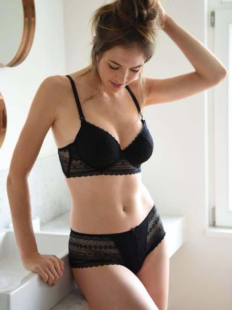 Lace Maternity Bra Black+RED BRIGHT SOLID+White