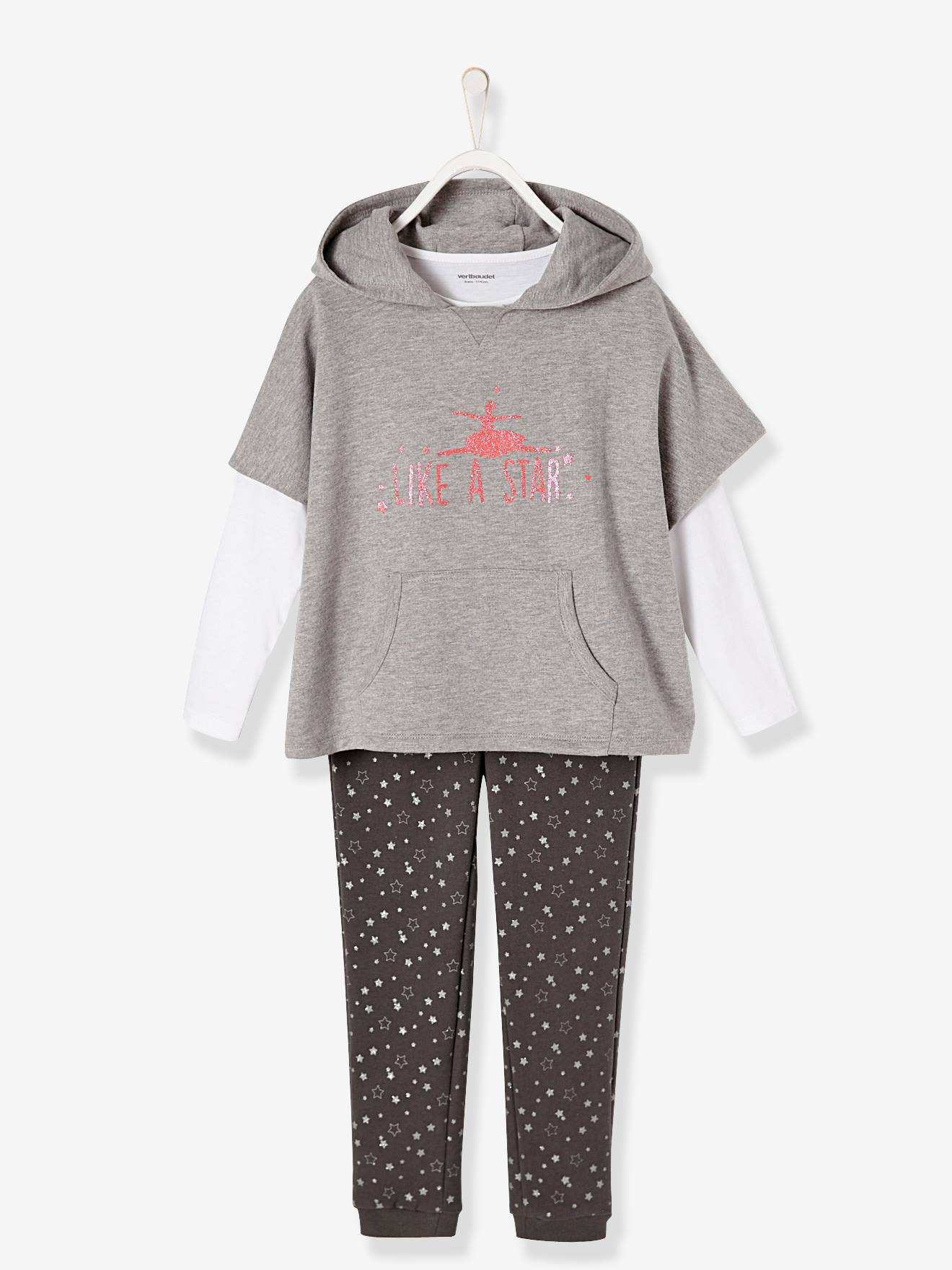 Girls' Jacket + Top + Trouser Set GREY LIGHT MIXED COLOR+PINK LIGHT SOLID