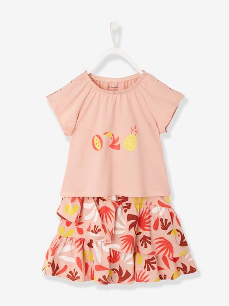 Girls' Skirt + T-Shirt Outfit BLUE MEDIUM STRIPED+PINK LIGHT ALL OVER PRINTED
