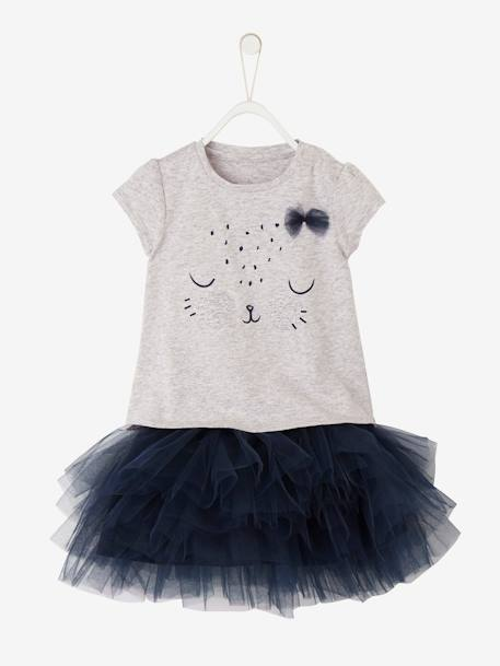 Baby Girls' T-Shirt and Skirt Outfit GREY LIGHT MIXED COLOR+WHITE LIGHT SOLID WITH DESIGN
