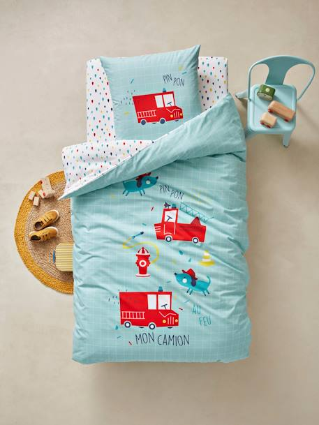 Children's Duvet Cover & Pillowcase Set, Nee-Naw Theme GREEN LIGHT SOLID WITH DESIGN