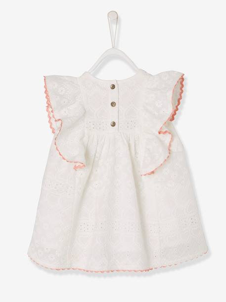 Baby Girls' Dress with Broderie Anglaise and Frill WHITE LIGHT SOLID