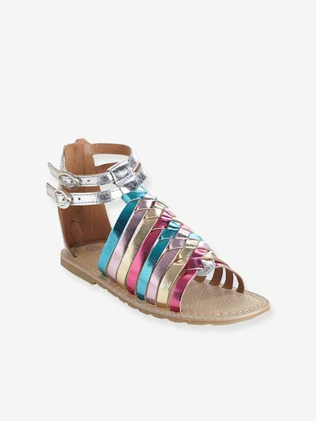 7c06d09bc1c63 Girls Leather Sandals BLACK DARK SOLID WITH DESIGN+Metallic pale  pink+Multicolour silver