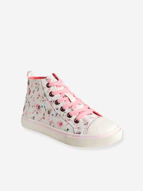 Girls' Leather High-Top Trainers, in Fabric BLUE MEDIUM SOLID+GREY MEDIUM SOLID WITH DESIGN+WHITE MEDIUM ALL OVER PRINTED