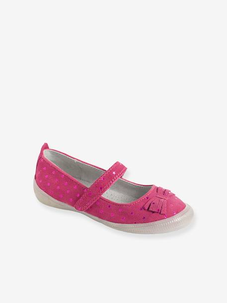Girls' Leather Ballerina Shoes with Touch 'n' Close Fastening Tab BLUE DARK ALL OVER PRINTED+GREY MEDIUM METALLIZED+PINK MEDIUM ALL OVER PRINTED