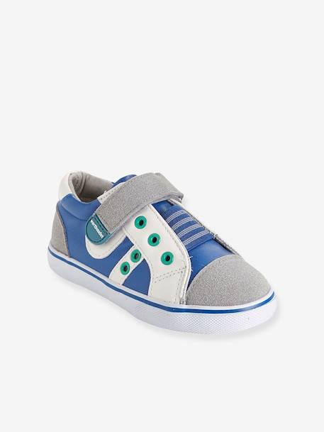 Boys' Leather Trainers, Designed for Autonomy Grey / blue
