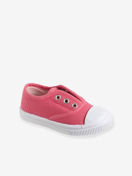 Girls' Fabric Trainers PINK MEDIUM SOLID+YELLOW MEDIUM SOLID