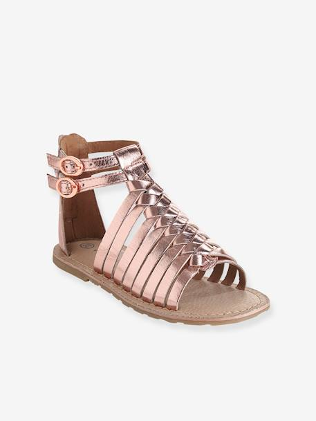 3cb7dd6d2833 Girls Leather Sandals BLACK DARK SOLID WITH DESIGN+Metallic pale pink+Multicolour  silver
