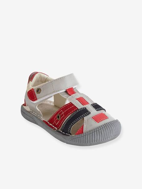 Boys Leather Sandals, Designed For Autonomy Grey / aqua+Ink / red+Red