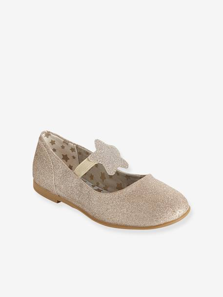 Girls' Ballet Pumps Gold+White glitter