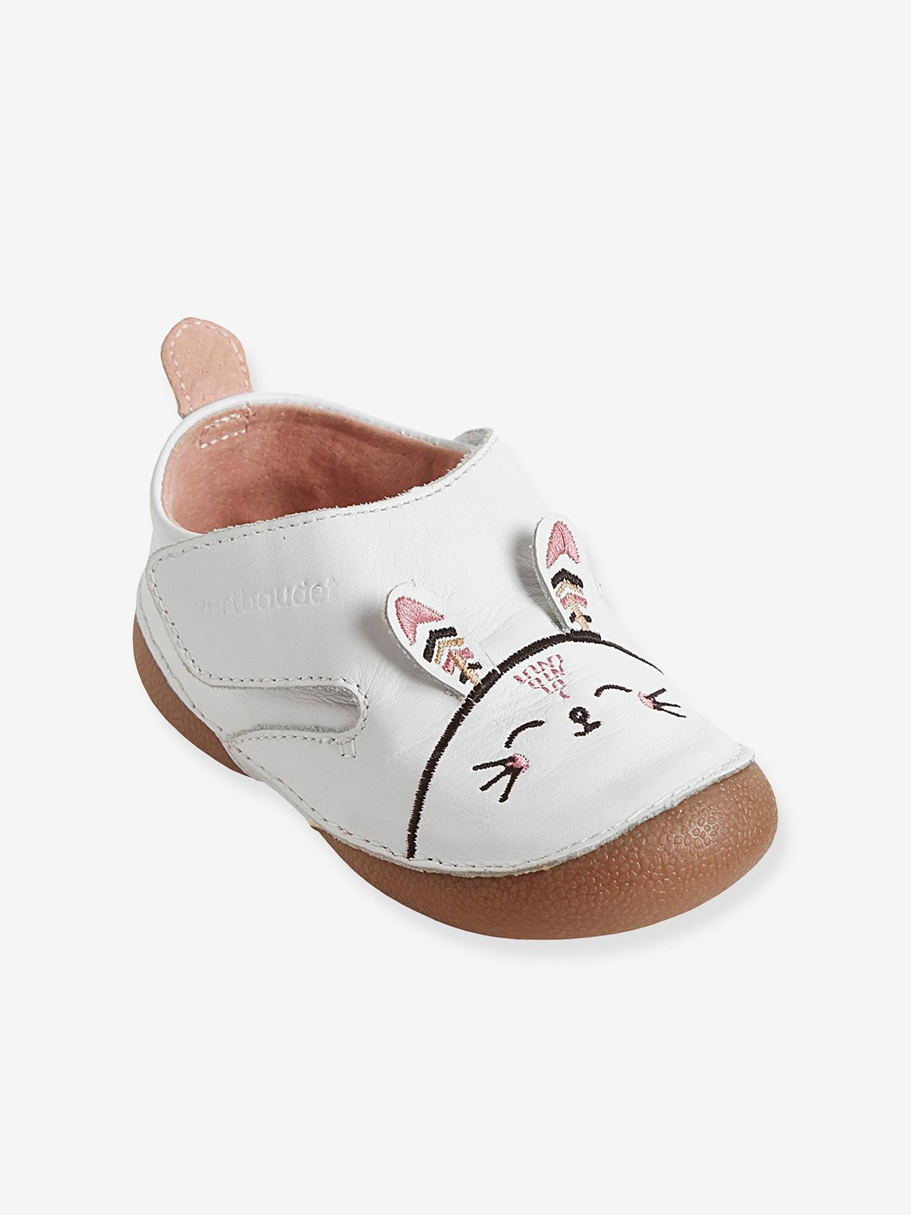 Baby Girls Non Slip Leather Slippers with Ears Shoes