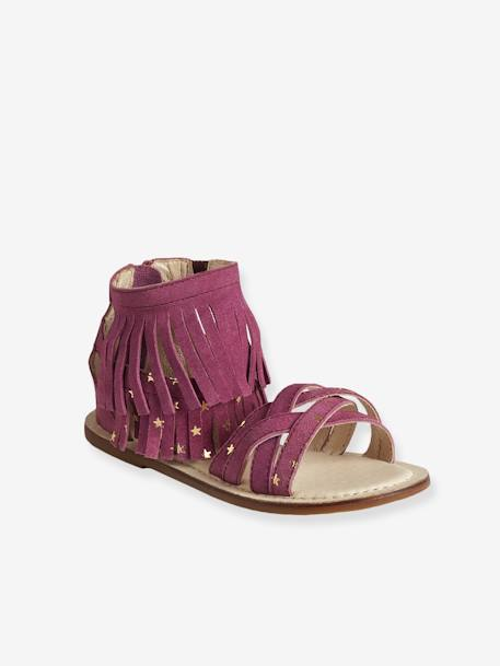 Girls' Leather Sandals with Fringes BLUE DARK SOLID+PURPLE MEDIUM SOLID