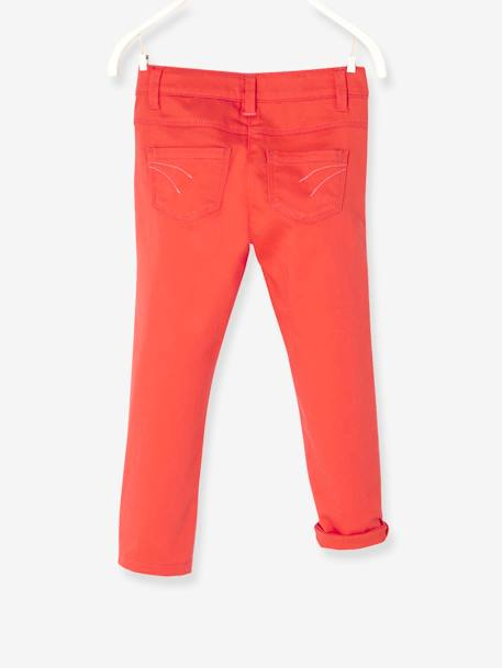Girls' Stretch Cropped Trousers GREEN LIGHT SOLID+ORANGE BRIGHT SOLID+WHITE LIGHT SOLID