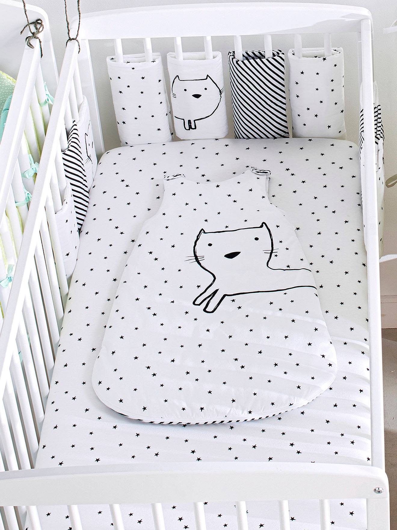 Set Of 2 Baby Fitted Sheets In Stretch Jersey Knit, Star Print   Grey Light  All Over Printed, Furniture U0026 Bedding | Vertbaudet