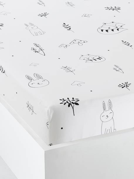 Baby Fitted Sheet, Magic Forest Theme WHITE LIGHT ALL OVER PRINTED