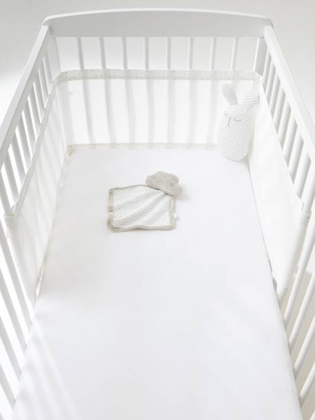 Cot Bumper, Breathable, Night Stars WHITE LIGHT SOLID