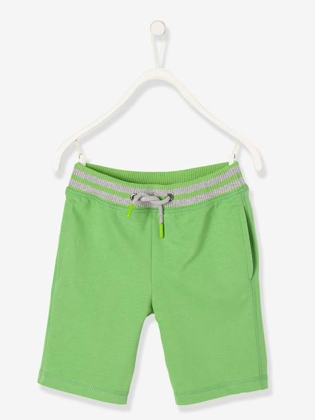 Boys' Sports Bermuda Shorts, in Fleece BLUE DARK SOLID+GREEN BRIGHT SOLID+GREY MEDIUM MIXED COLOR
