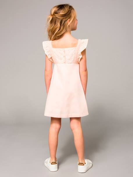Girls' Sateen Dress with Embroidery PINK LIGHT SOLID+WHITE LIGHT SOLID