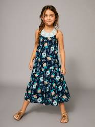 Girls-Dresses-Long Printed Dress with Macrame Neckline