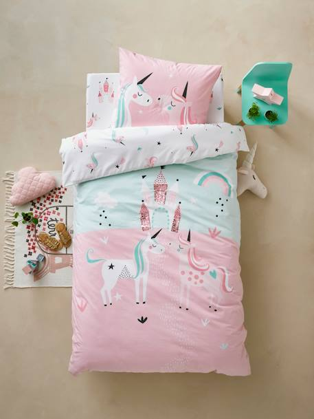 Girls' Duvet Cover + Pillowcase, Magic Unicorns Theme BLUE LIGHT SOLID WITH DESIGN