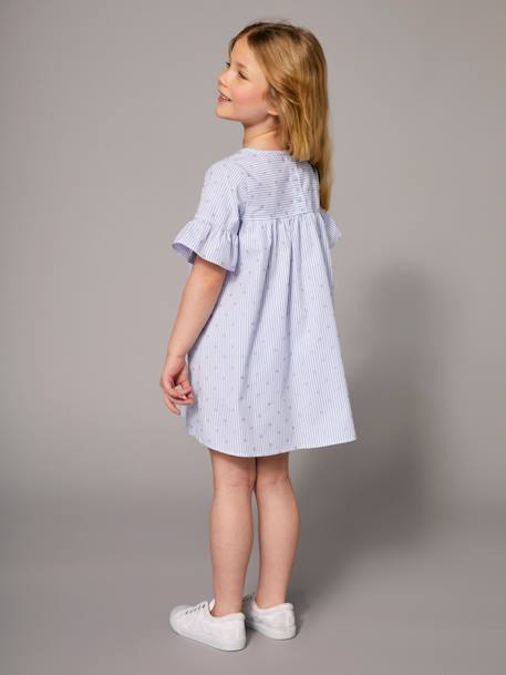 Girls' Dress with Stripes and Iridescent Motifs BLUE MEDIUM ALL OVER PRINTED