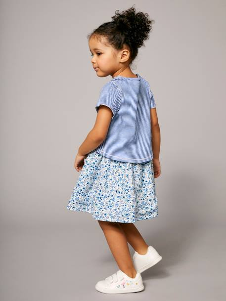 Girls' Reversible Dual Fabric Dress BLUE DARK ALL OVER PRINTED+PINK LIGHT ALL OVER PRINTED