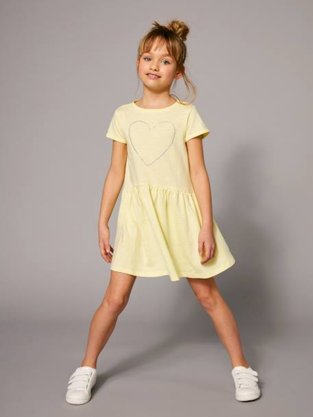 Girls' Short-Sleeved Dress PINK DARK ALL OVER PRINTED+WHITE LIGHT STRIPED+YELLOW LIGHT SOLID WITH DESIGN