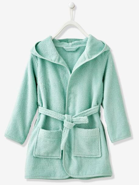 Child's Hooded Bathrobe Beige+Denim blue+Green+GREEN LIGHT SOLID+Grey blue+Light violet+Pink+PINK MEDIUM SOLID