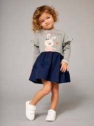 Girls' Dual Fabric Dress, Fleece and Twill