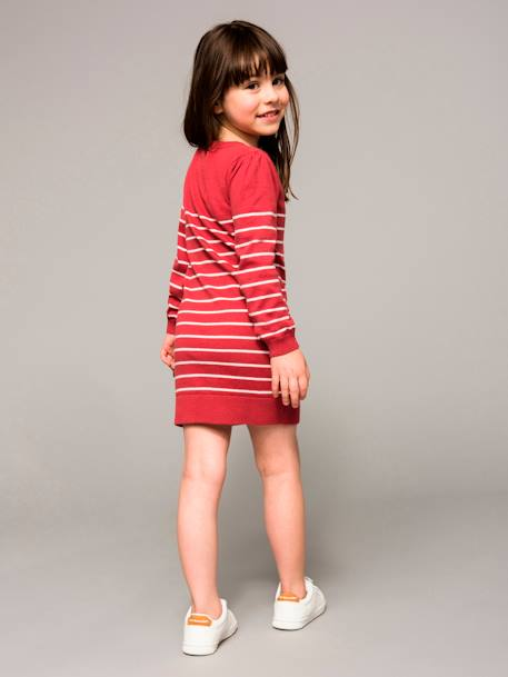 Girls' Knitted Dress BLACK DARK STRIPED+PINK DARK STRIPED+WHITE LIGHT STRIPED