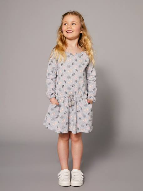 Girls' Printed Dress BLUE DARK ALL OVER PRINTED+GREY LIGHT MIXED COLOR