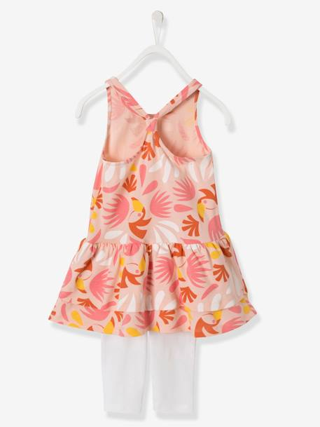 Girls' Dress + Leggings Outfit BLUE MEDIUM STRIPED+ORANGE BRIGHT ALL OVER PRINTED+PINK LIGHT ALL OVER PRINTED