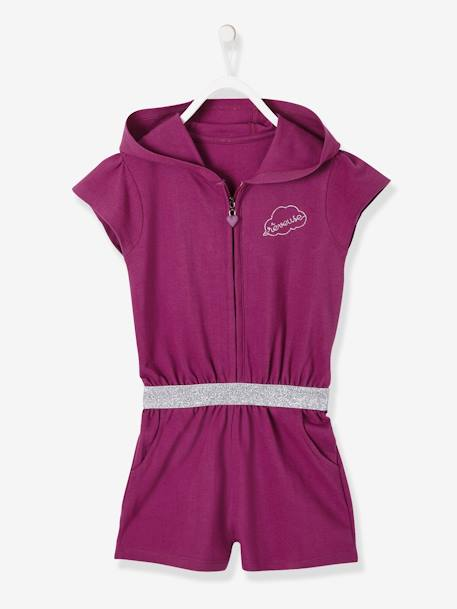 Hooded Jumpsuit in Piqué Knit for Girls PINK DARK SOLID WITH DESIGN