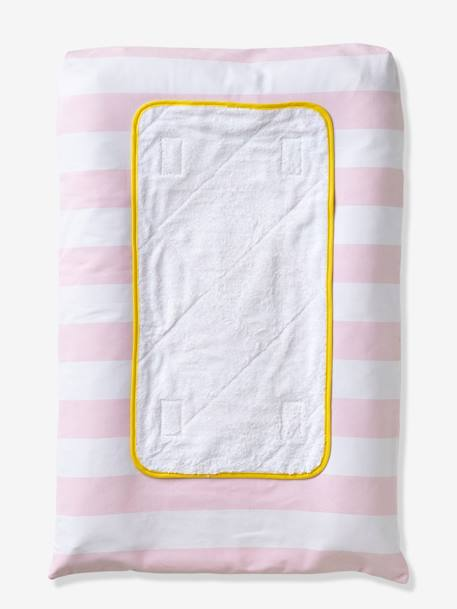 Changing Mat & Towelling Cover GREEN LIGHT STRIPED+PINK LIGHT STRIPED