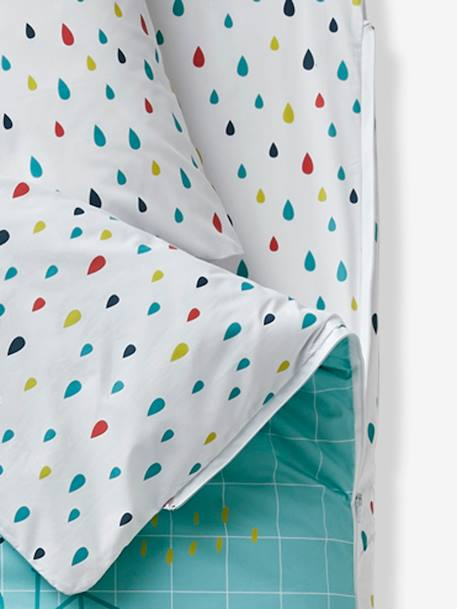 An 'easy to close' ready-for-bed set without PIN PON duvet GREEN LIGHT ALL OVER PRINTED