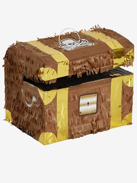 Pirate Treasure Chest Piñata BROWN LIGHT SOLID WITH DESIGN