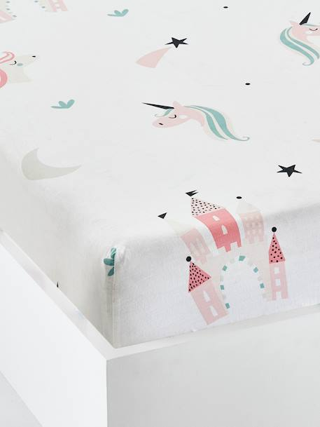 Girls' Fitted Sheet, Magic Unicorns Motif WHITE LIGHT ALL OVER PRINTED