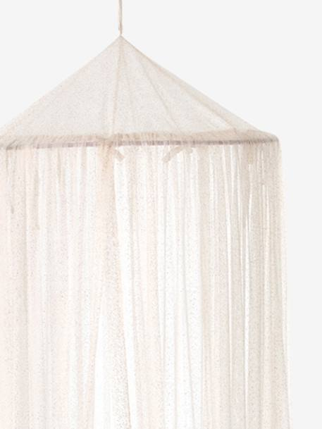 Canopy Curtain with Glitter PINK LIGHT SOLID WITH DESIGN