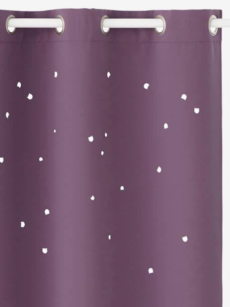 Hollow Star Curtain with Cat Head Cutouts PURPLE DARK SOLID WITH DESIGN