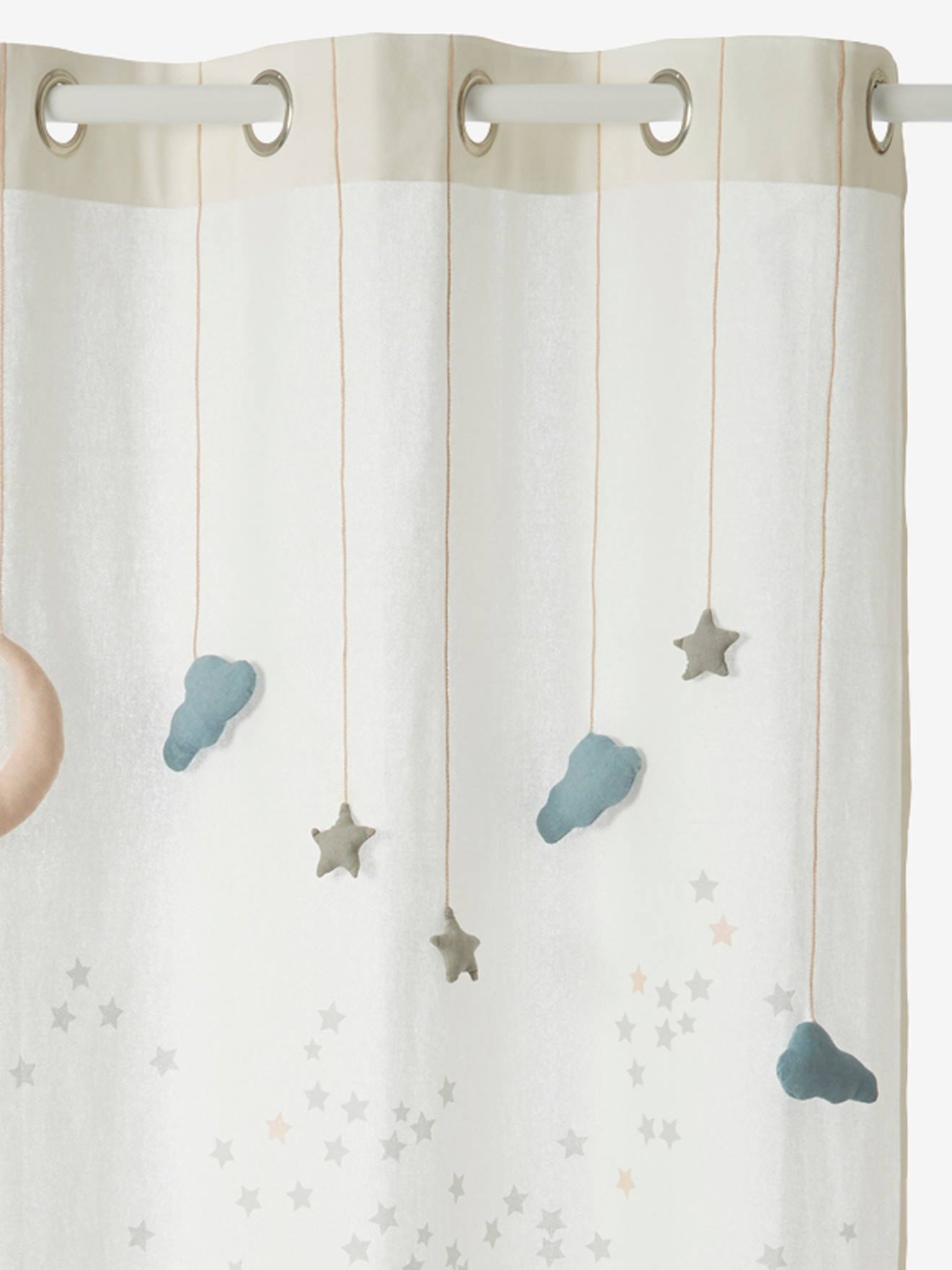 Sheer Curtain Like A Star Theme White Light Solid With Design Bedding Decor Vertbaudet