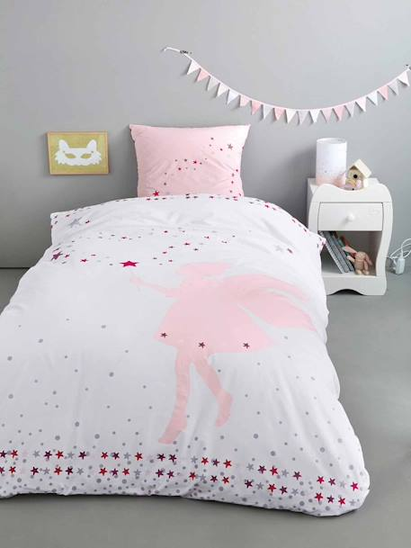 Duvet Cover & Pillowcase Set, Tiny Fairy Theme WHITE SPRITES