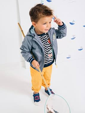 Boys' Long-Sleeved Striped Top blue dark all over printed