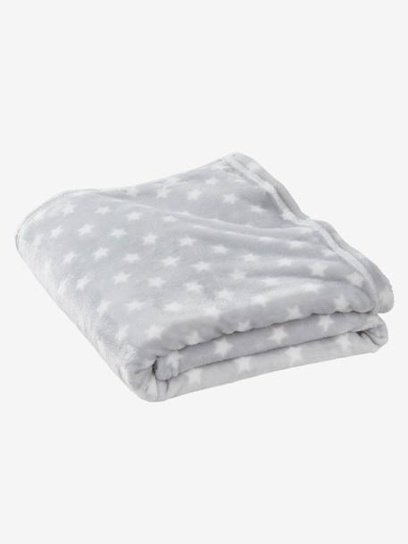 Children's Microfibre Blanket, Star Print BLUE DARK ALL OVER PRINTED+GREY LIGHT ALL OVER PRINTED