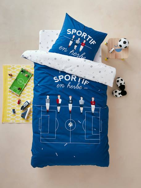 Children's Duvet Cover + Pillowcase Set, Football Champion Theme BLUE DARK SOLID WITH DESIGN