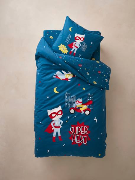 Children's Fitted Sheet, Super cat Theme BLUE MEDIUM ALL OVER PRINTED